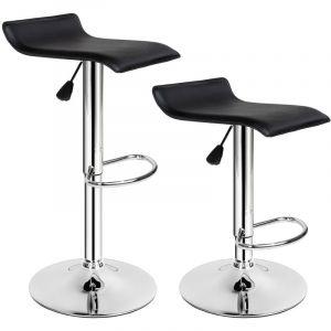 Lot de 2 Tabourets de Bar Design Noir Pivotants et réglables en Hauteur 57 cm - 77 cm - TECTAKE