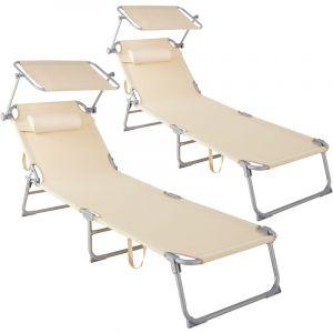 Lot de 2 transats CHLOE - lot de 2 chaises longues, bains de soleil, transats jardin - beige - TECTAKE