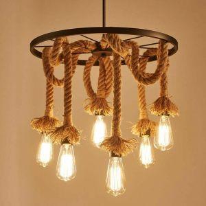 Lustre suspension en corde de chanvre 6 Lampe Douille E27 , Rétro Lampe de plafond roue industrielle pour Restaurant Salon Salle À Manger Bar - STOEX
