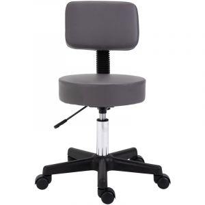 Tabouret massage à roulettes réglable en hauteur pivotant dossier ergonomique gris - HOMCOM