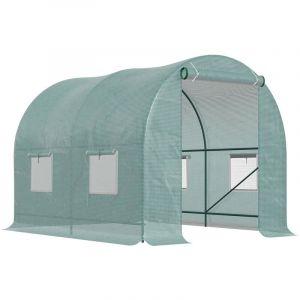 Serre de jardin tunnel 5 m² 2,5L x 2l x 2H m acier renforcé dia. 1,8 cm + PE haute densité 140g/m² fenêtres porte déroulante vert - Outsunny