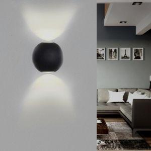Silamp - Applique Murale Noire Design LED Double Faisceaux IP54 6W - Blanc Neutre 4000K - 5500K