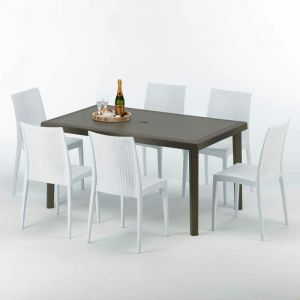 Table rectangulaire 6 chaises Poly rotin resine 150x90 marron | Bistrot Blanc - GRAND SOLEIL