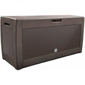 Coffre de Rangement Exterieur 310L en PP 119x48x60CM Style Polyrotin Marron - VOUNOT