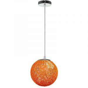 STOEX Rétro Suspension Luminaire en Rotin Globe Rond 20cm, Lustre Abat-jour DIY Lampe Plafond E27 pour Salon Restaurant Centre commercial Bar - Orange