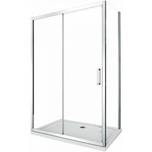 Cabine de douche de 6 millimètres angulaire avec deux faces H.190 un mur fixe lateral et une porte coulissante – 77,5-80 fixe x 95-100 coulissante