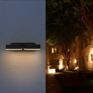 Silamp - Applique Murale Double Noire LED 12W IP54 Orientable Ovale - Blanc Chaud 2300K - 3500K