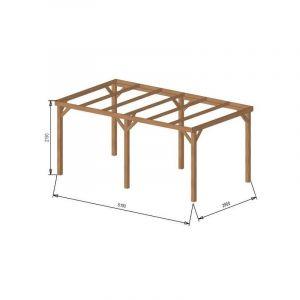 Pergola bois avec bandeau |15 m2 - 3 x 5 | Autoportante - Origine France + Visserie acier zingué & Pieds de poteaux (hauteur fixe)