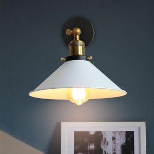 Applique Murale Métal Style Parapluie 220mm Blanc E27, Lampe Rétro Plafonnier Industrielle Eclairage Suspension Luminaire, (Ampoule non compris) - STOEX