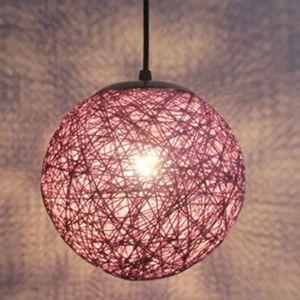 STOEX Violet Rétro Suspension Luminaire en Rotin Globe Rond 15cm , Lustre Abat-jour DIY Lampe Plafond E27 pour Salon Restaurant Centre commercial Bar