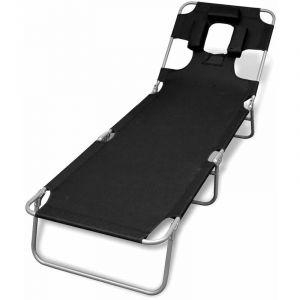 Chaise longue avec coussin de tête Acier enduit de poudre Noir HDV26525 - Hommoo