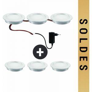 Kit 6 spots led ronds à encastrer parquet 230V 9 Led/spot blanc chaud