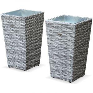 Lot de 2 pots de fleur 60cm - Prato Nuances gris - Résine tressée, pot en acier galvanisé, structure aluminium - ALICE'S GARDEN