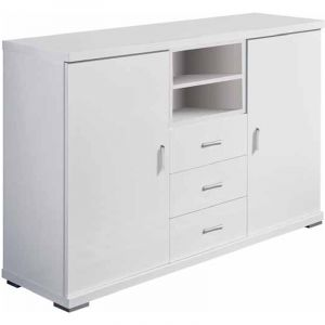Buffet coloris blanc avec 2 portes et 3 tiroirs - Dim : H 82.5 x L 120 x P 35 cm (livré monté) - PEGANE