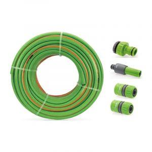 KIT Tuyau arrosage Tressé 50 mètres diam 25mm 1+ 4 Accessoires Diam 25mm Complet VITOGARDEN - VITO GARDEN