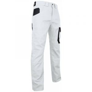 Pantalon artisan peintre bicolore multipoches - Gamme Peinture - FACADE - BLANC-GRIS NUIT - 1474 - LMA Lebeurre - Blanc - Gris - 42 - taille: 42