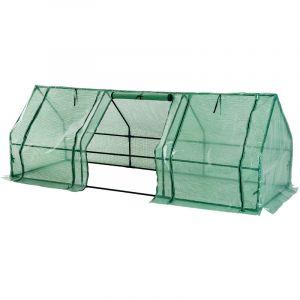 Mini serre de jardin serre à tomates 270L x 90l x 90H cm acier PE haute densité 140 g/m² anti-UV 3 fenêtres avec zip enroulables vert - HOMCOM