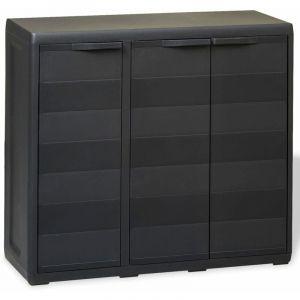 Armoire de rangement de jardin avec 2 étagères Noir - VIDAXL