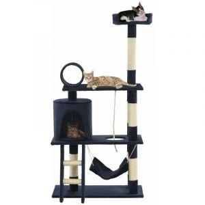 Arbre à chat griffoir grattoir niche jouet animaux peluché en sisal 140 cm bleu foncé - HELLOSHOP26