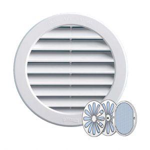 Grille ventilation PVC ronde + moustiquaire et fermeture - Ext. Ø150mm - Tube Ø125mm - FIRST PLAST