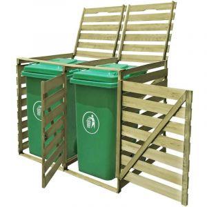 Cache-poubelle à roulettes double imprégné en bois 240 L - VIDAXL