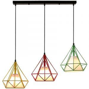 Suspension Cage forme Diamant Contemporain 25cm E27 110-221V Corde Ajustable Luminaire Salle à Manger,Bar (Rouge Jaune Vert) - STOEX