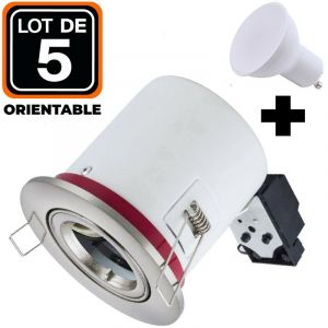 Lot 5 Supports Spots BBC Orientable INOX + Ampoule GU10 7W Blanc Froid + Douille - EUROPALAMP