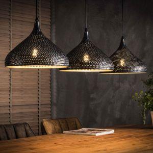 Lustre industriel en métal noir 3 lampes Raphaëlle - LAMPEA