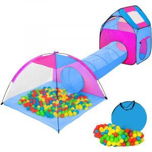 Tente Enfant Tunnel de Jeux + 200 Balles Bleu - TECTAKE