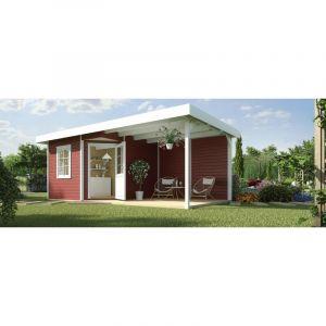 Abri pentagonal design 213 B, Taille 2 auvent 303 cm, rouge suédois - WEKA