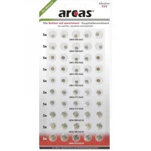 Lot de piles bouton alcaline(s) Arcas 12755000 50 pc(s)