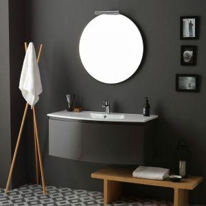 Armoire De Toilette Courbée 102 Cm Gris Ardoise Brillant Miroir Rond Riva - KIAMAMI VALENTINA