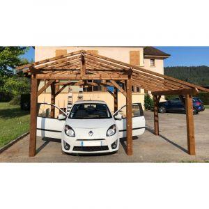 Carport bois - Autoportant  12,65m² - 2.8 x 4.5 - 2 pans