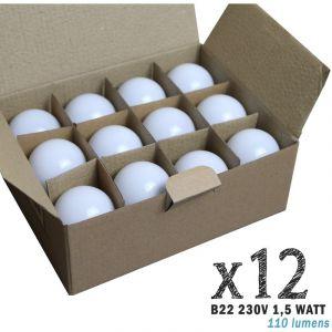 Lot de 12 ampoules LED B22 1,5W Blanc Chaud (équivalence 15W) pour Guirlande Extérieure   blanc-chaud-3000k - non-dimmable - LIMÃO