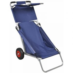 Hommoo Chariot de plage avec roues portable et pliable Bleu HDV32010