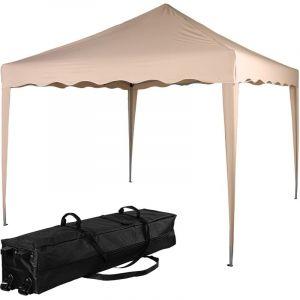 ® Structure de tonnelle pliante 3x3m acier , couleur beige, avec sac de transport à roulettes - Instent