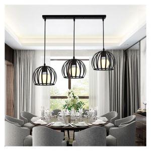 E27 Lustre Industriel Barre 3 lampes Suspension Cage Contemporain Noir pour Cuisine, Salle à manger, bar - STOEX