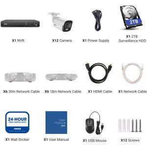 SANNCE Kit Vidéo surveillance filaire 16 CH 5 en 1 1080N DVR + Caméra HD 720P Vision nocture 20m sans disque dur – 12 caméra extérieure sans disque dur