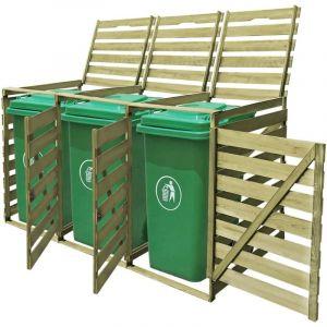 Cache-poubelle à roulettes triple imprégné en bois 240 L - VIDAXL