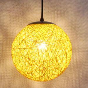 STOEX Jaune Rétro Suspension Luminaire en Rotin Globe Rond 15cm , Lustre Abat-jour DIY Lampe Plafond E27 pour Salon Restaurant Centre commercial Bar