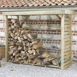 MADEIRA- abri de stockage de bois de chauffage- étagère pour bois de cheminée- bûcher en pin sylvestre autoclave- Abris de jardin toiture plate avec un revêtement en feutre bitumeux et plancher - porte 4 stères de bûches de 33cm- L238.5xl.89.5xH183cm - 2,