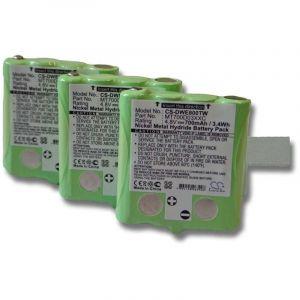 Lot 3 batteries Li-Ion vhbw 700mAh (4.8V) pour Talkie-Walkie DeTeWe Outdoor PMR 8000, Simvalley PX-1755, PX-1761. rempalce: MT700D03XXC.
