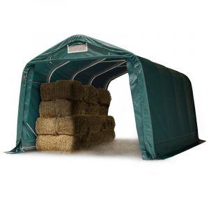 Tente de pâturage robuste 3,3x4,8 m étanche bâche PVC 550g/m² abri pour chevaux écurie ouverte, vert - INTENT24.FR