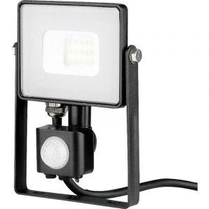 V-TAC PRO VT-10-S projecteur LED 10W chip samsung smd avec sensor PIR 3000K slim noir IP65 - SKU 436