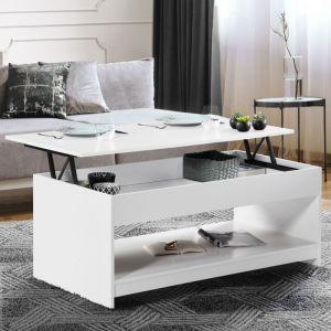 Table basse plateau relevable Soa bois blanche - IDMARKET