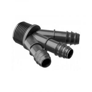 Raccord cannelé Y 3voies Ø16mm - male 3/4 pouce pour micro irrigation - ABRISA