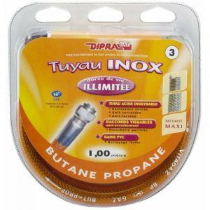 Tuyau flexible en inox pour gaz butane propane (1,00 m) - Longeur : 1,00 m - DIPRA