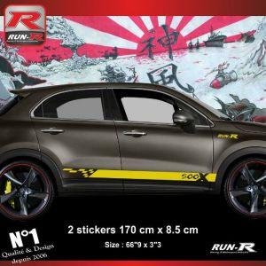 Sticker bas de caisse 00EOJ pour FIAT 500X - Jaune - Run-R Stickers