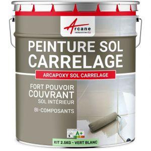 Peinture sol carrelage recouvrir d'une résine faïence et tous types de carreaux - PEINTURE SOL CARRELAGE HAUTE RESISTANCE ARCANE INDUSTRIES | Kit de 2.5kg jusqu'à 12.5m² pour 2 couches - Ral 6019 Vert Blanc