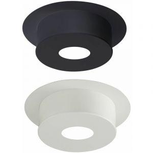Plaque de finition pour conduit isolé inox/galva pour poêle à bois - Plaque ronde hauteur 22 cm - Diamètre : 180 mm - couleur : BLANC - POUJOULAT